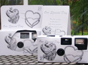 Typical disposable cameras found on wedding tables. Click image for more information.